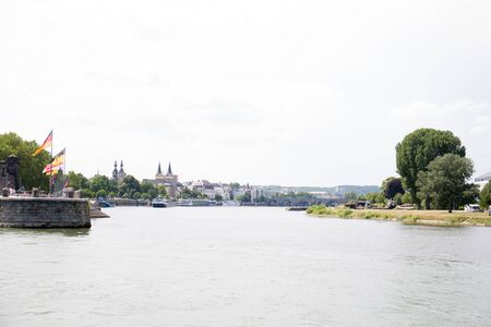 Distant view along the rhine riverbanks in Koblenz Germany