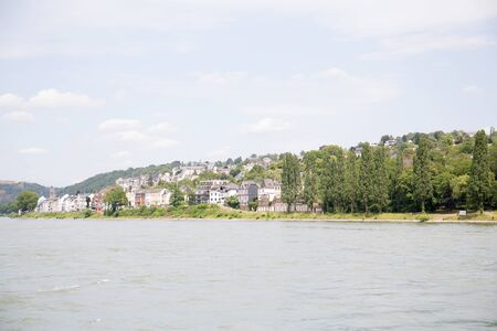 View on a building exterior at the rhine river in Koblenz Germany