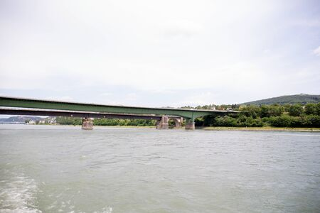View on a bridge and the nature at the rhine river in Koblenz Germany Stockfoto