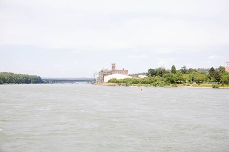 Distant view on the buildings and the nature at the rhine river in Koblenz Germany