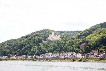 View on the hills and the castle at the rhine river in koblenz germany