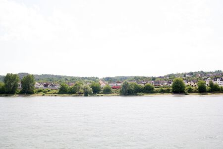 Distant view on the landscape at the rhine river in Koblenz Germany