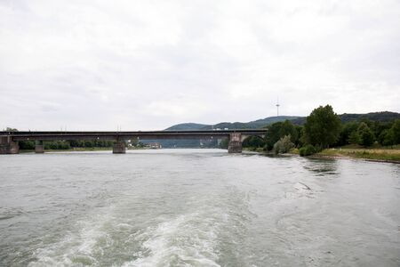 View on the bridge and the natural riverbank of the rhine river in Koblenz Germany Stockfoto