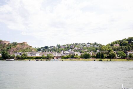 View on the building exterior at rhine riverbank in koblenz germany
