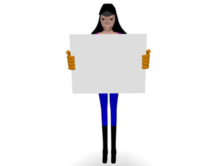 woman with paper to the text photo