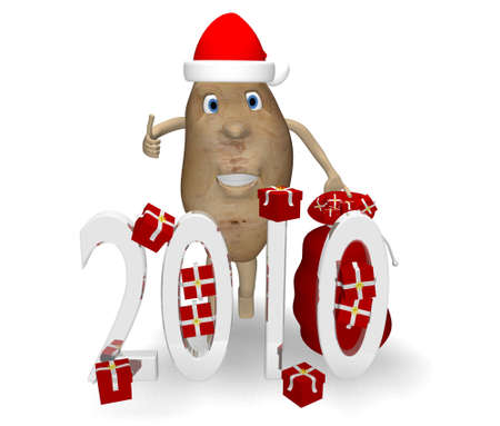 potato with gifts for Christmas and New Year Stock Photo - 5967878