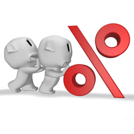 pushes: caricature sad man pushes a man who pushes a symbol rate Stock Photo