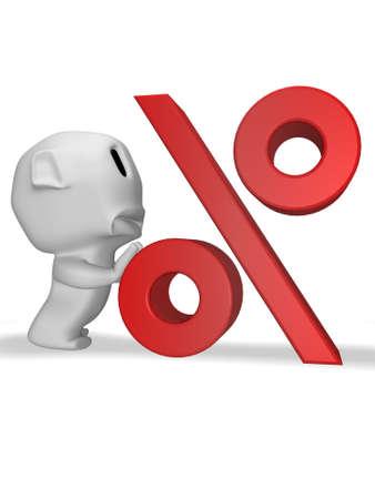 pushes: caricature sad man pushes percentage symbol