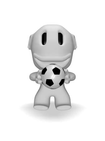 caricature of smiling man with soccer ball photo