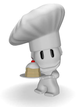 caricature of smiling chef with cake
