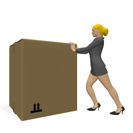 business woman pushing a box photo