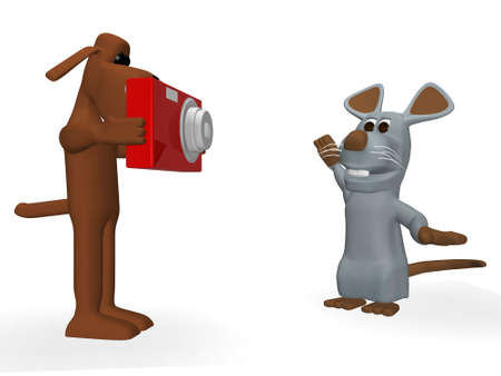 funny dog taking a picture of a cute mouse photo