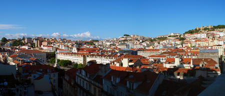 Aerial view of the Downtown of Lisbon, Portugal. In the background (right side) the Sao Jorge Castle and the surrounding areas of Castelo and Mouraria