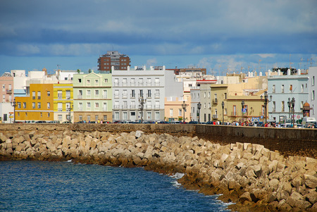 Typical houses at the waterfront in Cadiz, Spain, Avenida Campo del Sur