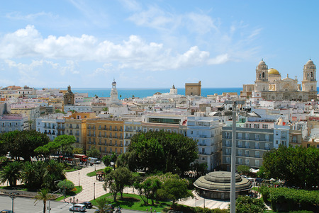 Aerial view of the Old City of Cadiz, Spain. On the left side the Ayuntamiento, the town hall of Cadizs. On the ride side the Cathedral of Cadiz