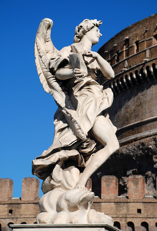 Sculpture of an angel on Ponte SantAngelo, Rome, Italy