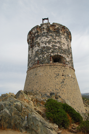 Tower Parata (French: Tour de la Parata), Ajaccio, Corsica, France. The Genoese towers in Corsica are a series of coastal defences constructed by the Republic of Genoa between 1530 and 1620 to stem the attacks by Barbary pirates Stock Photo