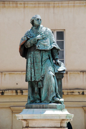 The Monument to Cardinal Fesch at the Cour du Musà © e Fesch, Ajaccio, Corsica, France. Joseph Fesch was a French cardinal and diplomat, Prince of France and a member of the Imperial French Empire, Peer of France, Roman Prince, and the Uncle of Napoleon B