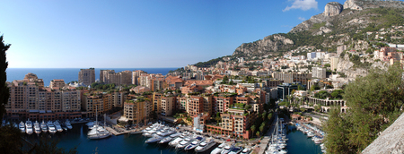 Panoramic view of Fontvieille, Monaco. Fontvieille is the southernmost ward in the Principality of Monaco Stock Photo