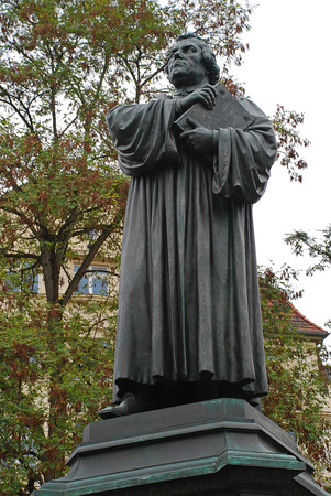 Luther Monument in Eisenach, Germany. dedicated to the reformer Martin Luther, who was a German professor of theology, composer, priest, monk, and a seminal figure in the Protestant Reformation
