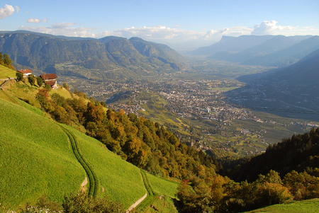 A view of the Adige valley from Merano to Bolzano, standing at the mountain inn