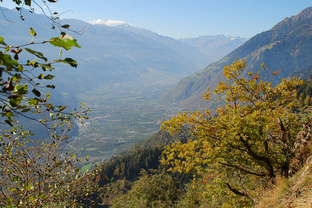 Panorama view on valleys and mountains (Texel Group) in the italian alps standing at the Hans-Frieden-Felsenweg (Meran, South Tyrol, Italy)