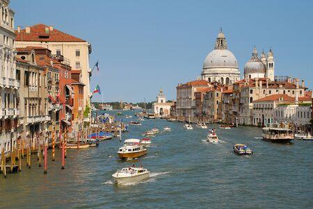 View of Grand Canal in Venice, Italy, from the Academia Bridge, in the background the Basilica di Santa Maria della Salute
