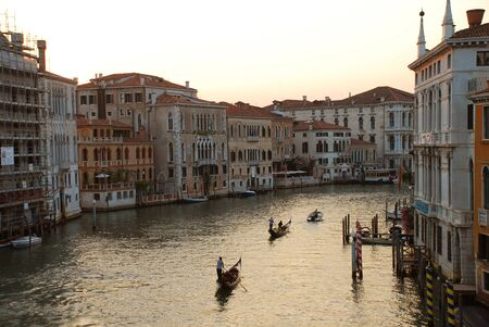 View of Grand Canal in Venice, Italy, from the Academia Bridge: Scene in the sunset