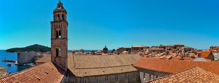 Rooftops in Dubrovniks Old City with the Dominican monastery, which is one of the most important architectural parts of Dubrovnik and major treasury of cultural and art heritage in Dubrovnik Imagens