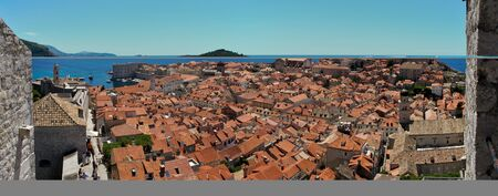 View over the roofs of Dubrovniks old city. Dubrovnik is a Croatian city on the Adriatic Sea. It is one of the most prominent tourist destinations in the Mediterranean Sea Stok Fotoğraf