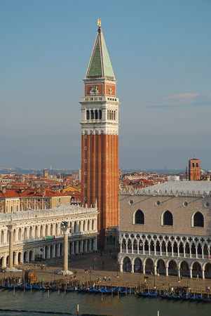 Venice in the morning sun: Aerial view of Piazza San Marco, Campanile di San Marco and Ducale or Doge Palace, Italy, Europe Editorial