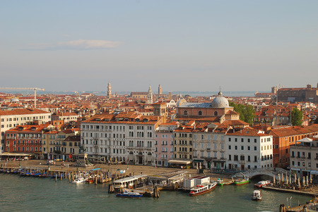 The Riva degli Schiavoni, a waterfront in Venice, Italy. The Riva Degli Schiavoni commences outside the Doges Palace and ends near the Arsenal. In the morning sun Editorial