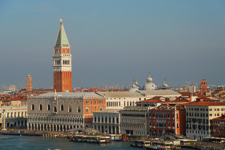 Venice in the morning sun, Italy, Europe: Aerial view of Campanile and Ducale or Doge Palace