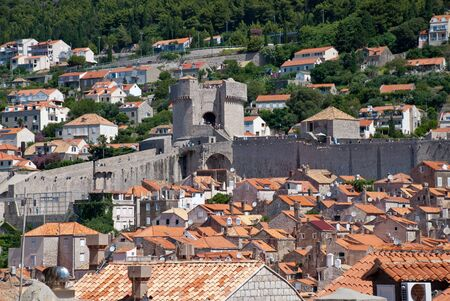Croatia: Walls of Dubrovnik with sight on Minceta Tower from the seaside wall. It is the most prominent point in the defensive system towards the land