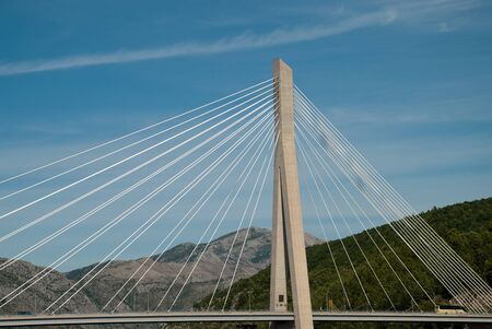 Dubrovnik, Croatia: The Franjo Tudman Bridge (Croatian: Most dr. Franja Tudmana) is a cable-stayed bridge carrying the D8 state road at the western approach to Dubrovnik