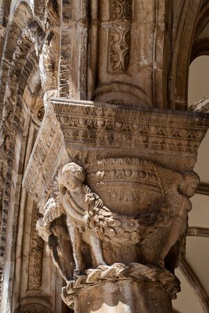 Detail of Pillar of outer facade of Rector's Palace in Dubrovnik Croatia. The Rector's Palace is a palace in the city of Dubrovnik that used to serve as the seat of the Rector of the Republic of Ragusa Imagens