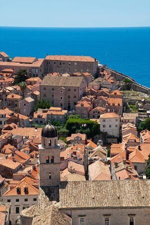 Dubrovnik, Croatia: view over the rooftops and St. Saviour Church, a small votive church located in Dubrovniks Old Town. It is dedicated to Jesus Christ
