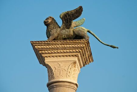 Venice, Italy: The column in the Piazzetta di San Marco with a sculpture of the Lion of Venice on top of it