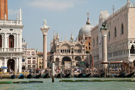 Venice, Italy: view from Giudecca Canal to the Piazzetta San Marco with the two columns, the Doge's Palace and the Basilica San Marco