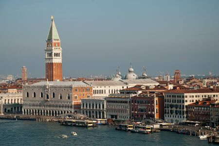 Venice, Italy: aerial view from Giudecca Canal to the Piazza San Marco with Campanile and Doge's Palace