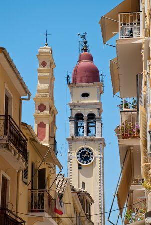 Corfu-City (Grecia): campanario de la iglesia de San Spyridon. Alberga las reliquias de San Spyridon y se encuentra en el casco antiguo de Corfú.