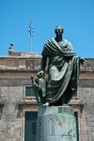 Corfu-City, Greece: The statue of Sir Frederick Adam in front of the Palace of St. Michael and St. George Stock fotó