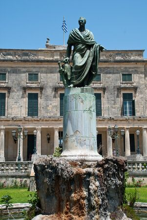 Corfu-City, Greece: The statue of Sir Frederick Adam in front of the Palace of St. Michael and St. George