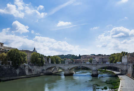 image created 21st century: View to the Tiber River and the Vittorio Emanuele Bridge Stock Photo