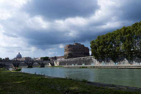 image created 21st century: View from the Tiber River to the Saint Angelo Castle and the Cystine Chapel in the Background Editorial