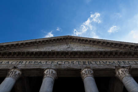 image created 21st century: Detail of the Pantheon with clouds in the sky
