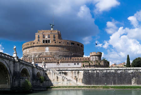 angelo: View to the Saint Angelo Castle Saint Angelo and Tiber River Bridge on a cloudy day Editorial