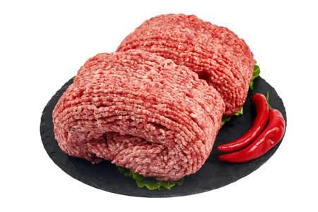 Fresh minced meat on white background Imagens