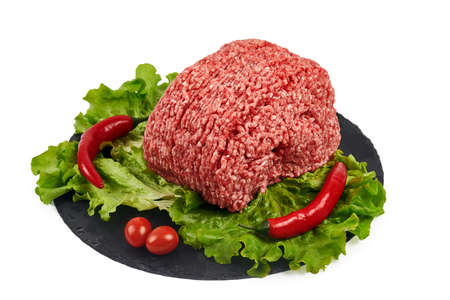 Raw chopped lamb meat isolated on white