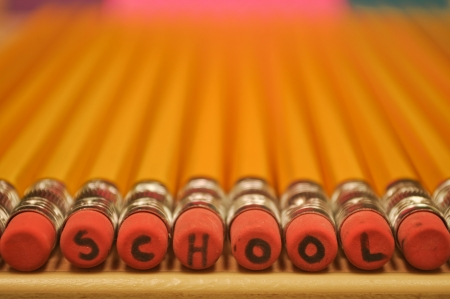 School on Pencil Erasers